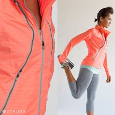 Sneak Peek - Athleta Spring 2014 Style Guide | Feeling Pretty Zippy: Our wind- and water-resistant running jacket has innovative zippers for ventilation on demand. Featured Styles: Striped Chi Tank, Breakthrough Seamless Capri, Run On Jacket, Saucony® Jazz Low Pro Shoes. (All styles available early Jan. 2014) | #powertotheshe