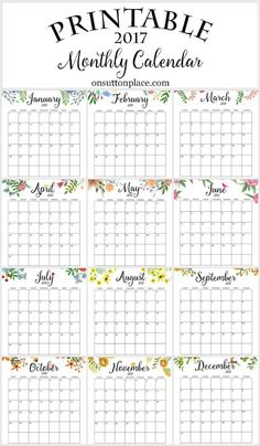 2017 Free Printable Monthly Calendar | Includes free year at a glance, individual months, weekly planner, weekly meal planner & an inspirational printable.                                                                                                                                                                                 Más