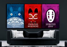 Studio Ghibli  colorful poster set, My Neighbor Totoro poster , Spirited Away poster, Princess Mononoke poster, Hayao Miyazaki art by HelenPrint on Etsy https://www.etsy.com/listing/280350522/studio-ghibli-colorful-poster-set-my