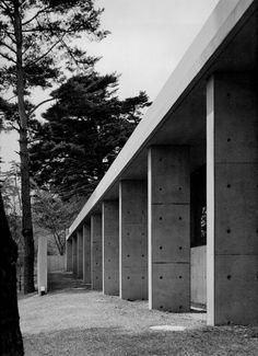 Tadao Ando, Koshino house. Rooms´ view from exterior.