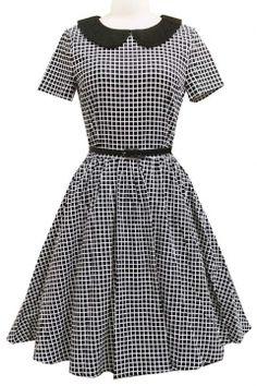 Women's Elegant Vintage 1940's Short Sleeve Plaid Swing Dress