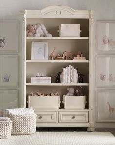 ainsley bookcase in distressed antique ivory. a stylish space for treasured belongings. #rhbabyandchild