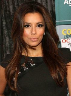 Long Brown Hairstyles | f38a4 Eva Longoria Long Layered Brown Hair Styles Long Hair with Pink ...