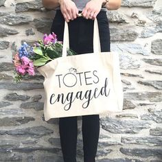 "The ""Totes Engaged"" Tote from David's Bridal  - a fun engagement gift for the bride-to-be!"