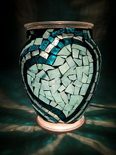 10 inch Handcrafted Teal Heart Mosaic Lamp