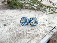 Fimo/polymer clay and gold/silver leaf stud earrings