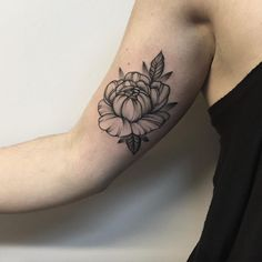 Black and Grey Ink Floral Tattoo by Anna Bravo