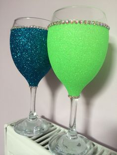 2ae3e14b382 Neon glitter wine glass. Purchase online at www.facebook.com theglitterroom  Glitter