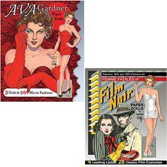 (Set) Ava Gardner and Film Noir Femme Fatale Paper Dolls Fashion Costumes ** Click image for more details.