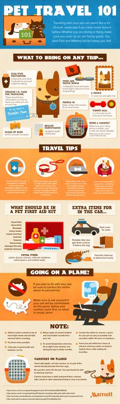 Tips to make make traveling with pets easier.  Great info graphics.