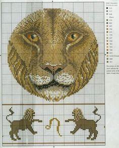 Esquema en punto de cruz para hacer la carita del leon del horoscopo de leo, las fechas del horoscopa dan desde el 23/7 al 22/8.     Para v...