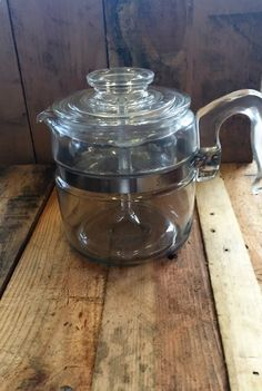 Vintage 1950s Pyrex 4 Cup Coffee Percolator 7754 / Pyrex Clear Glass Coffee…