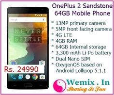 OnePlus 2 Sandstone Black 64Gb Mobile Phone Rs 24999