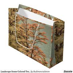 Landscape Scene Colored Trees at Glacier Lake Large Zazzle Gift Bag