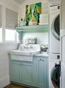 64 Best Tiny House Bathroom Design Ideas - Page 3 of 65 Laundry Room Layouts, Laundry Room Remodel, Laundry Room Organization, Laundry Room Design, Laundry Room Sink Cabinet, Laundry Room Utility Sink, Laundry Room Colors, Laundry In Bathroom, Tiny Bathrooms