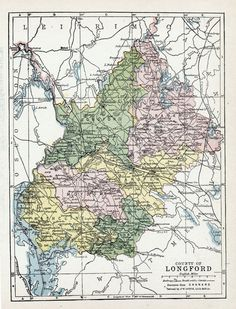 1902 Antique Map of  County Longford, Ireland.