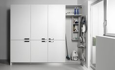 Basement Laundry Room Ideas And Tips, Best Decorations Utility Room Storage, Laundry In Bathroom, Basement Laundry Room, Cleaning Closet, Basement Living Rooms, Room Flooring, Guest Bathrooms, Kitchen Decor Apartment, Basement Design