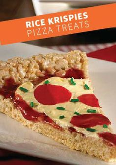 "Rice Krispies Pizza Treats – Mama mia! Your kids can decorate each slice with their favorite ""toppings"" for a cute and crispy pizza pie."