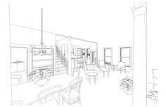 3D interior sketch for remodel and furniture layout.