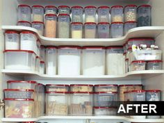 I sell tupperware, let me know if you wan't your pantry to look like this because I can help. They also come in blue and black lids. Air tight, bpa free, and a lifetime warrranty. Pantry Shelving, Pantry Storage, Pantry Organization, Food Storage, Pantry Ideas, Storage Ideas, Pantry Closet, Kitchen Pantry, Kitchen Hacks