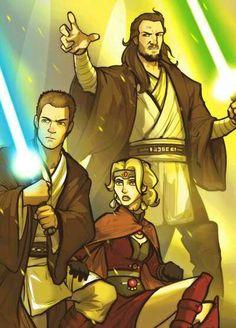 Obi Wan Kenobi and master Jedi Qui Gon Jin