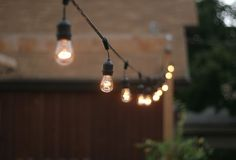 Porch/backyard lighting inspiration.