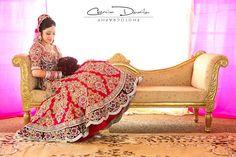 fuschia red and gold bridal lehenga