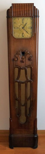 Art Deco Ornate Wood Case Oracle Grandfather Clock Radio Model 59 (1931) by Crosley