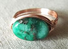 Chrysocolla Pyrite Ring Green Stone Ring Unique by PepperandPomme