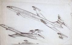 Derek Meddings' original 1964 design sketch for Fireflash, from 'Thunderbirds' (1965 /1966) by Gerry and Sylvia Anderson (AP Films)