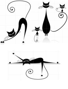 Love these little kitties. Cat Sketch, Cat Silhouette, Cat Crafts, Cat Tattoo, Cat Drawing, Crazy Cat Lady, Art Techniques, Rock Art, Doodle Art