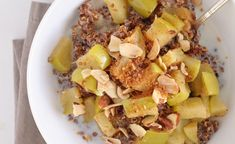 Breakfast quinoa with applesauce, milk, diced granny smith apple, dash of cinnamon. topped coconut, almonds and maple syrup-. Healthy, healthy...yummy
