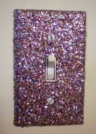 Take the light switch off, brush mod podge glue on and douse in glitter..cute!