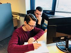 Our web designers Dan and Mikey getting their heads together to discuss a new RED BOX ALL-IN project for a telecoms company that we're starting today  #teamwork #webdesign #staffordshire #Stafford