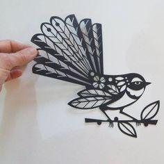 New Zealand, fantail, black, paper cut Maori Tattoos, Key Tattoos, Skull Tattoos, Foot Tattoos, Sleeve Tattoos, Maori Designs, Paper Cutting, New Zealand Tattoo, New Zealand Art