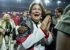 Mrs. Terry celebrates Alabama's 45-40 victory over Clemson in the College Football Playoff National Championship football game, Monday, Jan. 11, 2016, at University of Phoenix Stadium in Glendale,