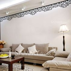 $4.15 PVC Home Decor Wall Decals Sticker with Chinese Style Classic Corridor Grids Pattern (Black)