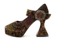 a0d91cf4bcbb 90 s Chunky Velvet Paisley Platforms Buy Boots