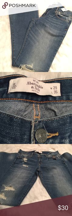 Abercrombie & Fitch   Madison Distressed Jeans NWT, never worn. Distressed look. Medium wash. The denim is really soft & comfy. Let me know if you have any questions. Bundle to save & happy poshing! Abercrombie & Fitch Jeans