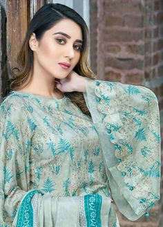 Five Star Printed Lawn Unstitched 3 Piece Suit - Spring / Summer Collection 3 Piece Printed Unstitched Suits from Five Star Classic Lawn Vol Kurta Designs Women, Kurti Neck Designs, Dress Neck Designs, Kurti Designs Party Wear, Sleeve Designs, Kurti Sleeves Design, Sleeves Designs For Dresses, Lace Dress With Sleeves, Bell Sleeves
