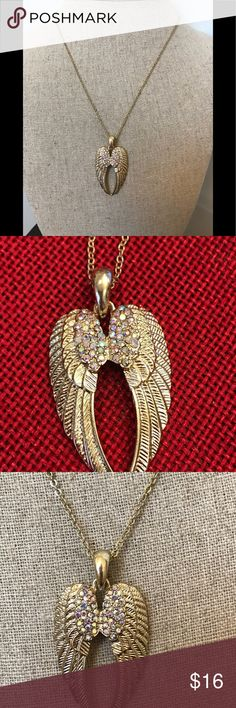 "Gold Tone Long Rhinestone Angel Wing Necklace Cute NWT Gold Tone Pink iridescent rhinestone studded angel wings pendant necklace.  Measures approximately 30"" long. This is a long necklace. Ella Jewelry Necklaces"