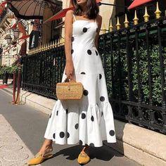 Polka dot long maxi dress Summer 2019 sleeveless ruffles women dress Big dots casaul bohemian dresses Boho beach vestidos mujer, White / S Trendy Dresses, Sexy Dresses, Fashion Dresses, Dresses For Women, Maxi Dress Styles, Fashion Fashion, Halter Dresses, Strapless Maxi, Wrap Dresses