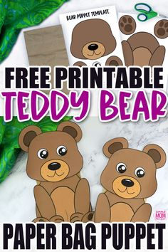 Click now to download and print our free bear template to make this fun brown teddy bear paper bag puppet craft. Print three of them to have a start in a puppet show of Goldilocks and the three bears! This bear paper bag puppet craft is perfect for kids of all ages including preschoolers and toddlers. Zoo Crafts, Bear Crafts, Puppet Crafts, Animal Crafts For Kids, Toddler Crafts, Printable Crafts, Templates Printable Free, Free Printable Coloring Pages, Bear Template