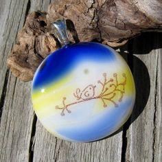Chubby Bird on a Branch Glass Pendant by Jet of the Day EmotionalOasis on Etsy #jewelryonetsy #JOD