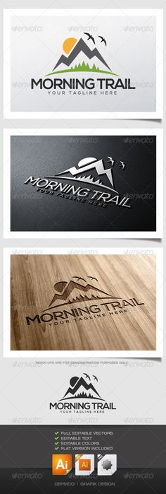 Morning Trail Logo  #GraphicRiver         Logo of a mountain, sun, birds and trees.