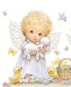 Baby Angel with baby animals, how cute!