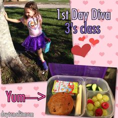First day of school and ready to eat her yummy lunch packed in @easylunchboxes