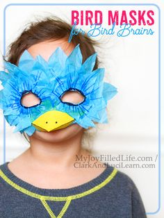 When it's hard to focus during homeschooling, I pull out the crafts. And if you're studying birds, I suggest making bird masks for bird brains. Fun Arts And Crafts, Fun Crafts, Bird Crafts Preschool, Zoo Preschool, Kindergarten, Fun Activities For Kids, Craft Activities, Funny Bird, Recycling For Kids