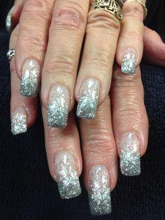 Mandy's nails. Silver sparkling snowflakes. Gel nail art.