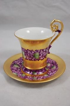 Violets and Heavy Gold Gilt Chocolate Cup and Saucer LIMOGES FRANCE